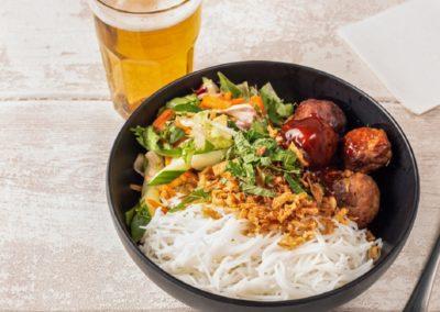 Noodle salad Vietnamese meatballs